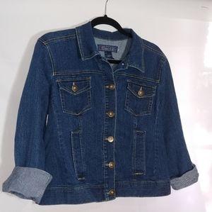 Baccini dark wash denim jacket with stretch size L